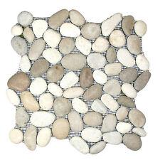 Sample  White & Tan Natural Stone Pebble Tile on mesh