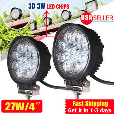 2x 27W Flood Round Work LED Light Fog Driving DRL Offroad SUV Boat Truck ATV Car