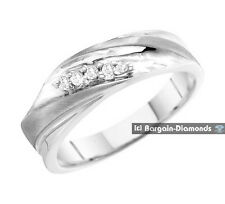 mens diamond .10 carats 10K white gold ring wedding band dress anniversary mans
