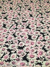B080 - POLYESTER Baby Pink Sunflowers Floral Dressmaking Jersey Stretch Fabric