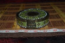 """Solid Brass & Enamel with Plastic Crystals Coasters, 3 3/4"""""""
