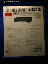 Sony Service Manual STR GX215 /GX315 /GX415 FM/AM Receiver  (#4716)