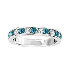 14K Ladies Blue/White Diamond Channel Fashion Wedding Band Ring 1/4 Ct