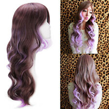 Women Lady Long Curly Wavy Full Wig Brown Mix Light Purple Hair Cosplay Costume