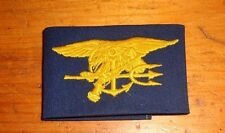 US NAVY COVER ALL,,CLOTH SEW ON BADGE ,SEAL SPECIAL WARFARE, ON SOLID BLUE