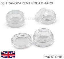 5x 5G Trasparente Cosmetici CREMA JAR POT-con coperchio a vite GEMS NAIL GLITTER UK