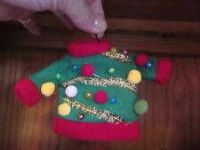 "Sale New ""Ugly Sweater"" Christmas Ornament cloth, felt & metal wire hanger"