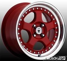 Konig Candy Wheels 15x7.5 4x100 +30 Offset Red Machined Lip Rims