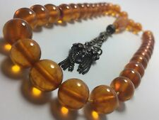 NATURAL GERMAN AMBER COGNAC WORRY PRAYER BEADS TESBIH