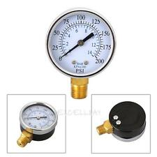 "2"" Air Compressor Hydraulic Pressure Gauge Meter Side Mount 1/4"" NPT 200PSI"