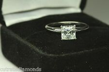 1.00 CT ASSCHER CUT ENGAGEMENT RING  14 KARAT WHITE GOLD
