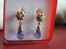 Boucles d'oreilles or 18 carats améthystes et diamants