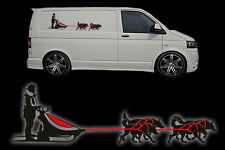 100CM X 30CM SIBERIAN HUSKY SLED DOG TEAM HUSKIES DOG SIBE CAR VAN DECAL STICKER