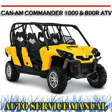 CAN AM CAN-AM COMMANDER 1000 & 800R ATV WORKSHOP SERVICE & PARTS MANUAL ~ DVD