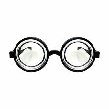 Adults / Kids Black Round Geek Nerd Fancy Dress Goggles Glasses (WORLD BOOK DAY)