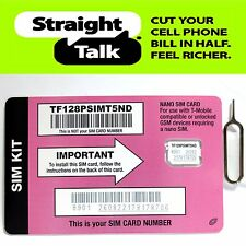 Straight Talk Nano SIM Card For T-Mobile or Unlocked GSM iPhone 7 7+ 6+ 6 5s 5