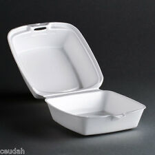 "(50) 5"" Sandwich Container White Foam Hinged Lid Food Tray Dart Take Out Party"
