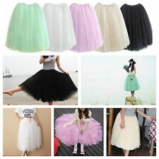 White 5 Layers Long Lady Girl Ballet Tutu Skirts Underskirts Petticoat