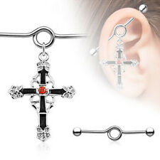 Industrial Barbell Ear Bar Scaffolding Piercing Gothic Cross Surgical Steel 35mm