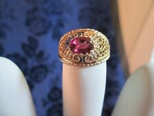 14 KT Yellow Gold Filigree 1 Ct. Oval Raspberry Rhodolite Garnet Ring