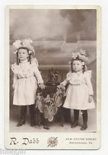 SISTERS WEARING MATCHING OUTFITS, STUFFED BIRD, SHENANDOAH, PA, CABINET PHOTO