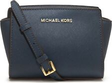 NEW MICHAEL KORS SELMA NAVY SAFFIANO LEATHER MINI MESSENGER CROSSBODY BAG