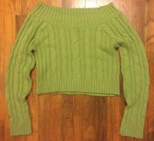 Green Cotton Emporium Cropped Cable Knit Sweater L Boat Neck Open Shoulder Bare