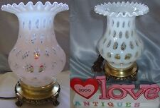 "FENTON GLASS""COIN DOT""LAMP""VINTAGE""50s~10""FAT DESK/BOUDOIR""WHITE OPALESCENT""XLNT"