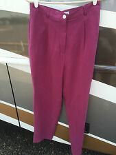 Norm Thompson 100% Textured Silk Dark Pink Mauve Ladies Pants Size 12 High Rise