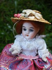 """Antique Mignonette Doll- 5 """" tall.Glass Eyes, 5 point of Joint."""