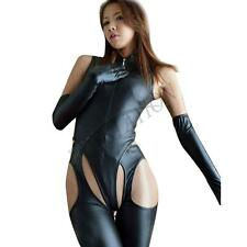 Sexy Ladies Bodysuit Leather Catsuit Dress Leotard Unitard Dance Party Outfits