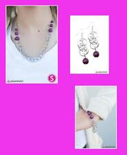 Paparazzi 3pc Set Necklace & Matching Earrings, Earrings, & Bracelet, Purple