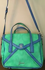 Guess Shoulder Hand Bag Purse Green Blue Removable Strap Silver Mint EEUC