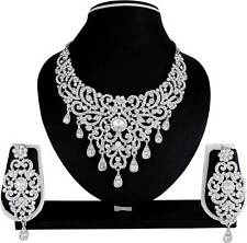 Bollywood Fashion Silver Plated Necklace Earrings Diamond Bridal Jewelry Set