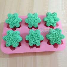 Cake Mold 6-Snowflake Snow Soap Flexible Silicone Mould For Candy Chocolate