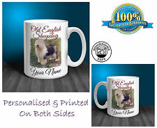 Old English Sheepdog Personalised Ceramic Mug: Perfect Gift. (D180)