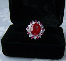 DESIGNER 12.65 CT RUBY& WHITE SAPPHIRE RING,  SIZE: 6.5 ~ WHITE GOLD over 925 SS