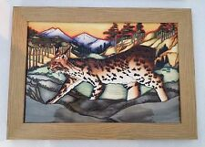 "MOORCROFT FIRST QUALITY LYNX REVEALED PLAQUE 14.5"" X 10.5"" BY KERRY GOODWIN"