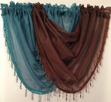 Beaded swags & voile panels set Coffee & Chocolate, Lots of cols now available.
