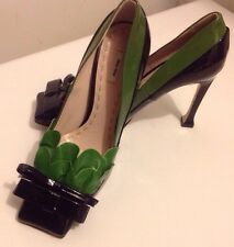 Miu Miu Patent Leather Two Colors Shoes With Bows. Size 38 / 7 1/2 US. RP $845