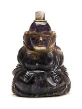 ANTIQUE CHINESE CARVED AMETHYST BUDDHA BELL PUSH C.1900