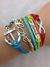 NEW Infinity Faith Love Anchor Leather Charm Bracelet plated Silver  H1