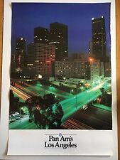 Pan Am's Los Angeles Vintage 1980s Travel Poster Pan American Airlines