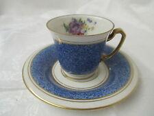 Germany Graf von Henneberg JLMenau Demitasse Cup Saucer blue gold cream Flowers