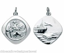 Double Sided Sterling Silver St Saint Christopher Pendant Necklace & Gift Bag