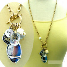 BRUSHED SILVER FOOTBALL CHARMS THICK CABLE NECKLACE PEARL CRYSTAL #1 HELMET
