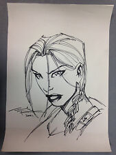 2001 ANDY PARK LAURA CROFT TOMB RAIDER ORIGINAL ART SKETCH PAGE TOP COW IMAGE