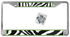 Zebra License Plate Frame Personalized Gifts Polished Metal Silver Add Text