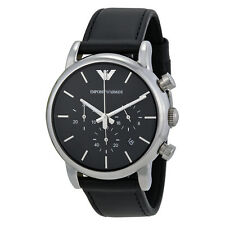 Emporio Armani Black Dial Chronograph Leather Mens Watch AR1733