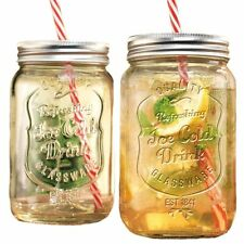 Set of 2 - 30oz Clear Glass Mason Jar Beverage Cups w/ Handles, Straws Included